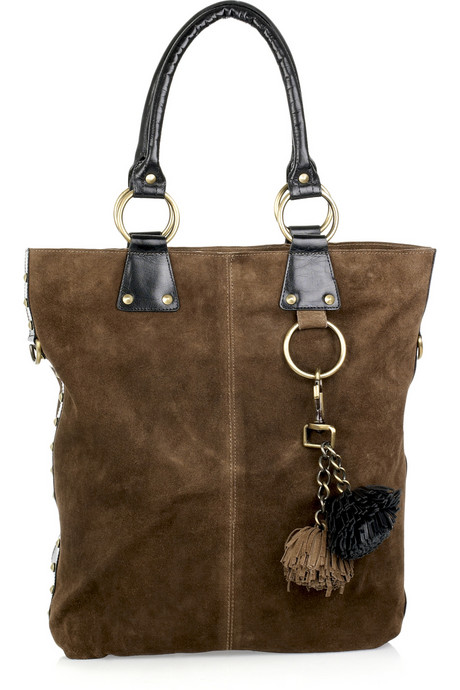 Sara Berman Pom Pom Suede Tote