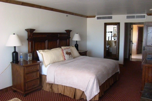 Guest room at the Snake River Lodge & Spa in Jackson Hole