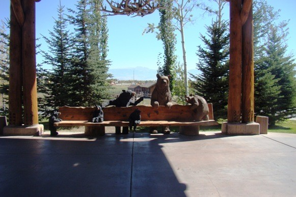 Outside the lobby at the Snake River Lodge & Spa