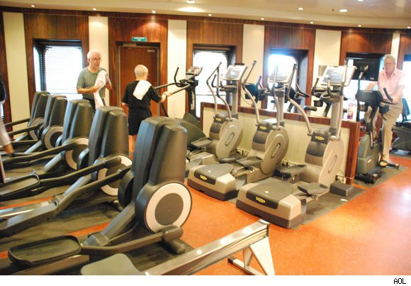The fitness center on the Queen Mary 2