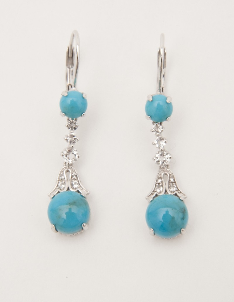Sterling Turquoise & White Topaz Lever back Earrings