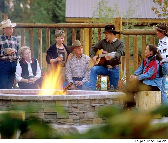 A fire pit at Triple Creek Ranch