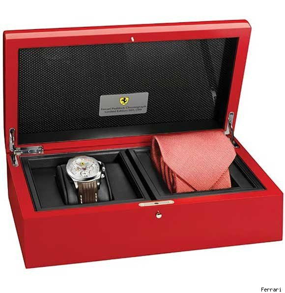 The Silver Ferrari Paddock Chronograph limited edition watch.