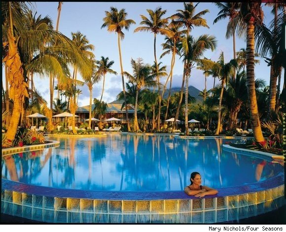The Ocean Pool at the Four Seasons Nevis; the resort will re-open in December 2010.