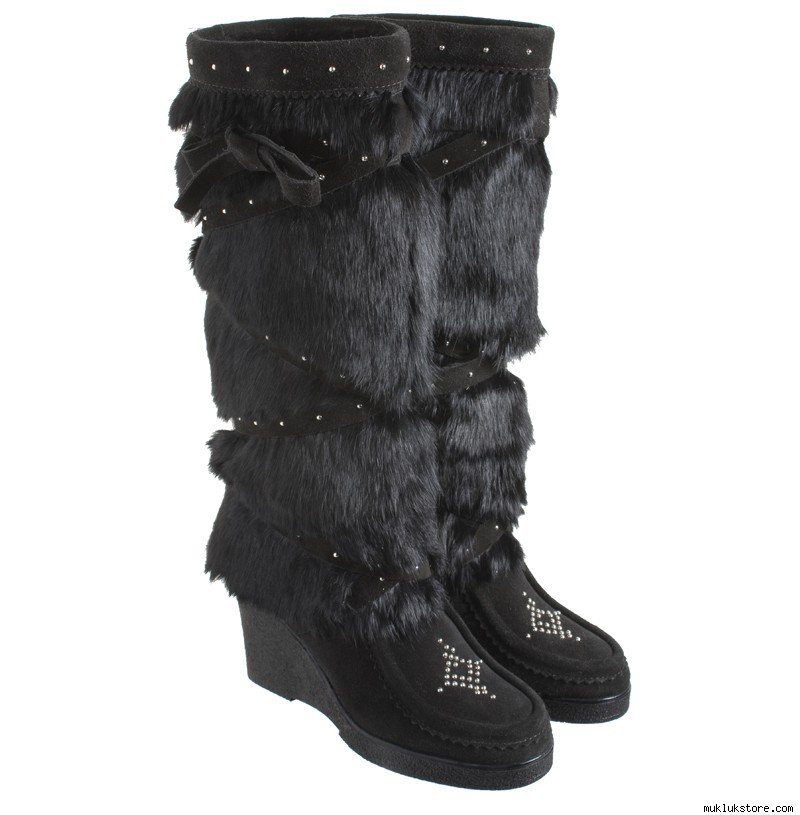 Black Tall Studded Wedge MukLuks