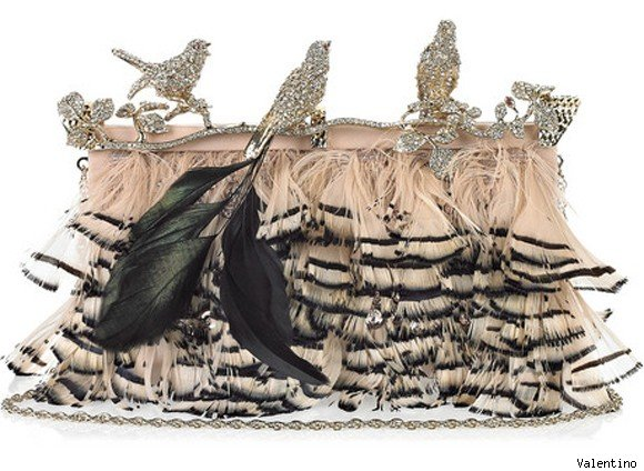 Valentino Crystal-Embellished Feather Clutch