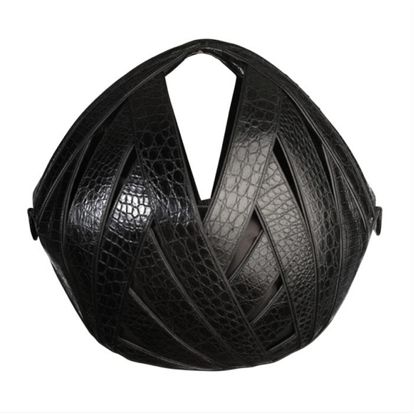 Black Croc Riva Ball Bag