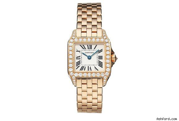 An 18K rose gold Cartier Women's Santos Watch with a diamond bezel.