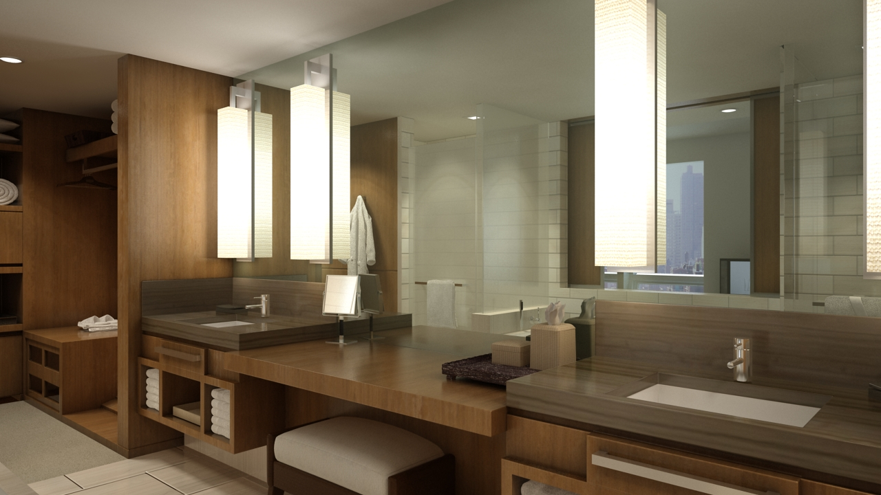 A bathroom in one of The Setai Fifth Avenue Hotel's guest rooms.