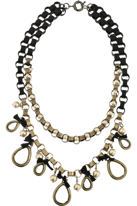 Lee Angel Embellished Chain Link Necklace
