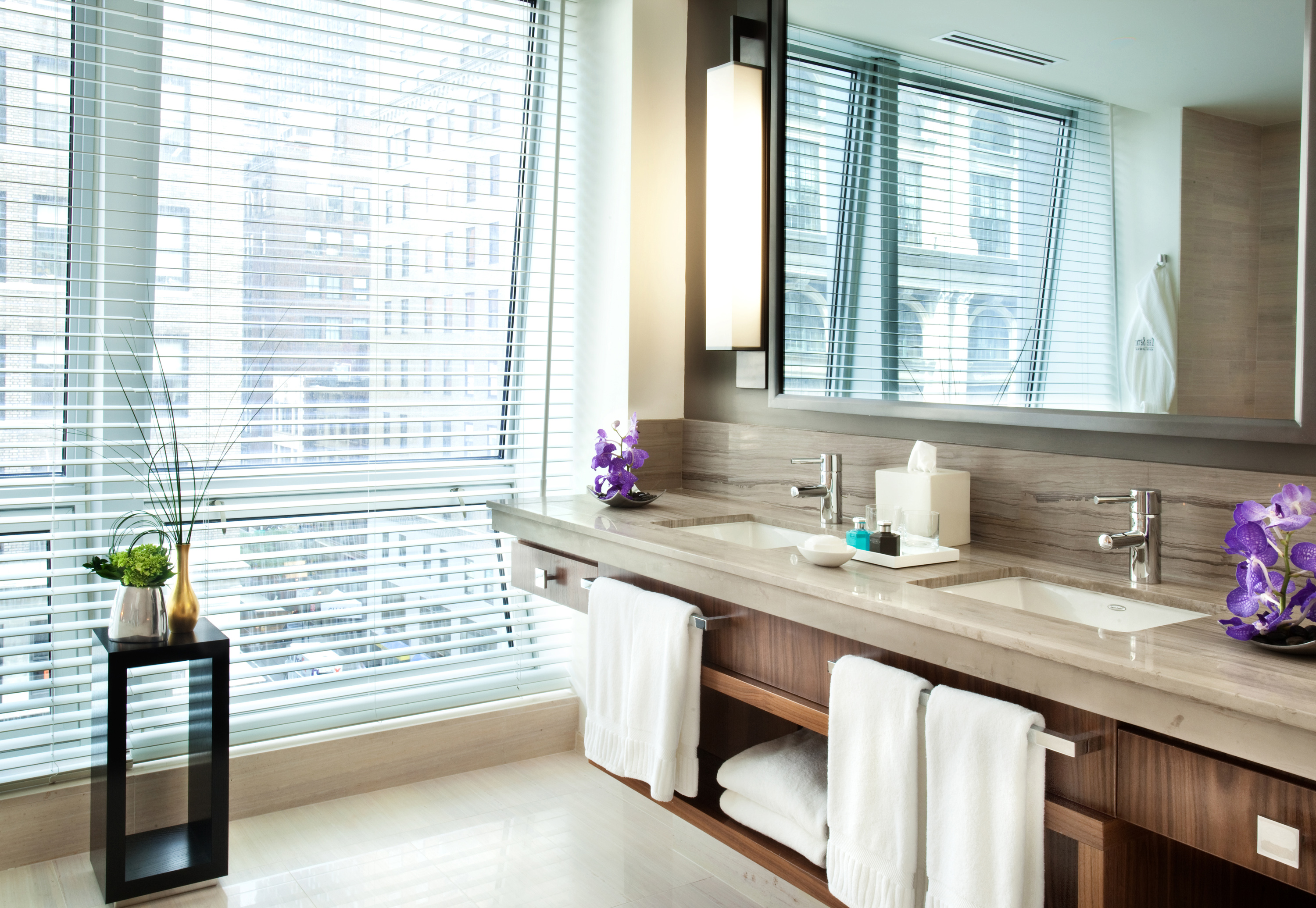 A Bathroom in The Setai Fifth Avenue Hotel guest room.