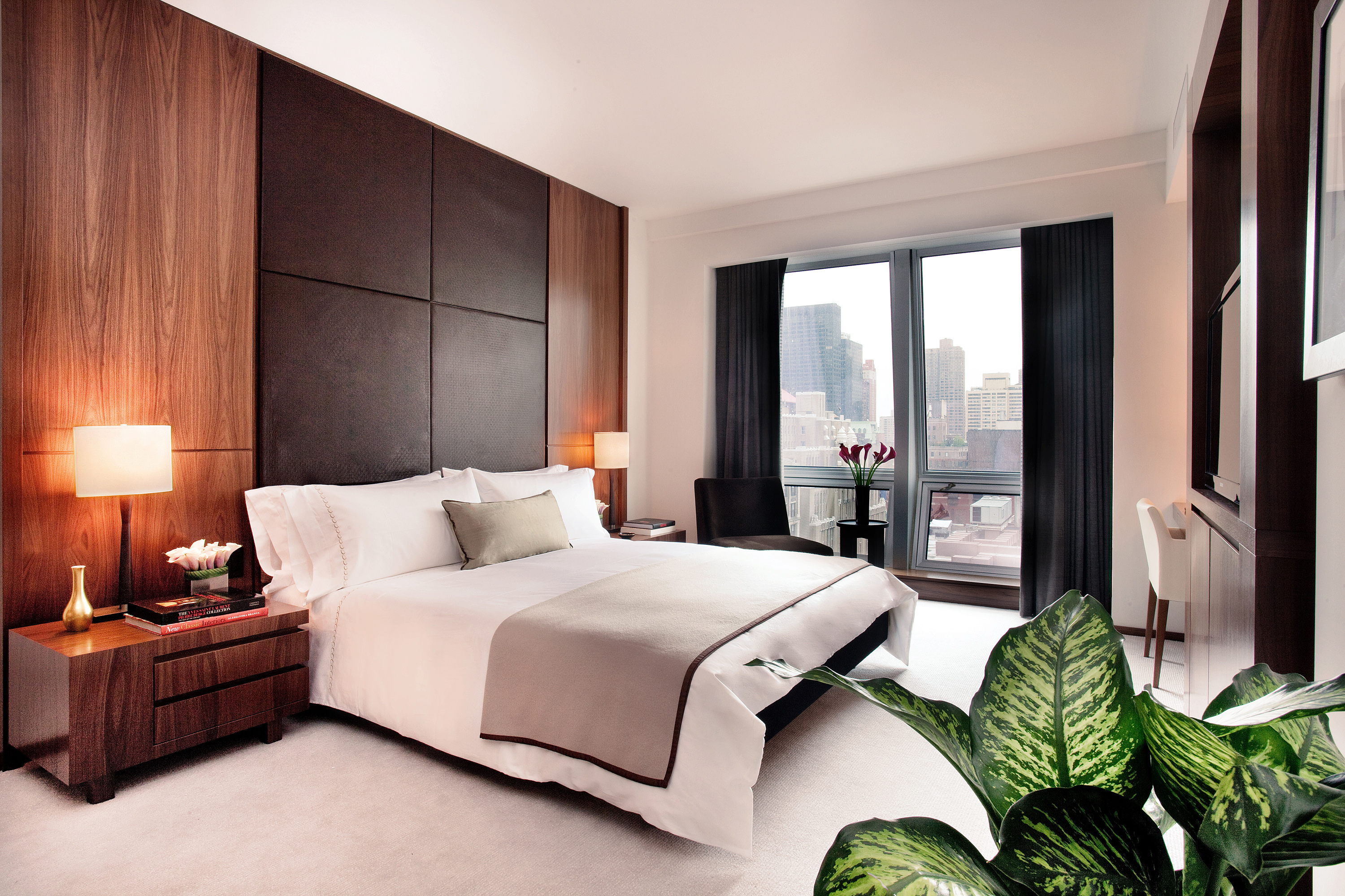 A bedroom in one of The Setai Fifth Avenue Hotel's suites.