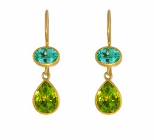 Double Stone Earrings with Paraiba and Peridot