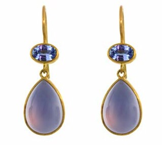Double Stone Earrings with Blue Chalcedony and Blue Sapphire
