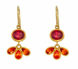 Peacock Tail Earrings with Mandarin Garnet and Red Sapphire