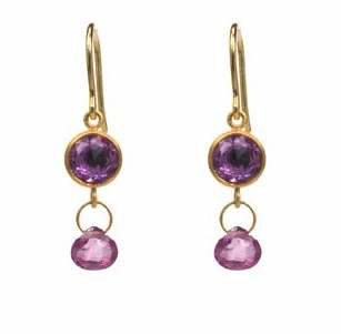 Double Stone Earrings with Rose Cut Pink Sapphire and Rhodolite Tavis