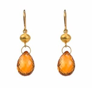 Honey Citrine Earrings with Gold Balls