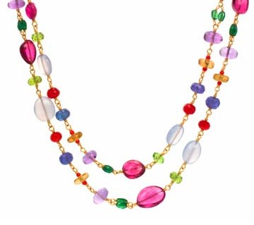 Multi-Gem Long Wrap Necklace