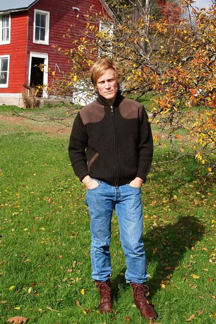 Grousa sweater jacket by Fjallraven; tumbled leather boots by Ralph Lauren