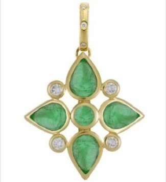 Emerald and Diamond Persia Pendant