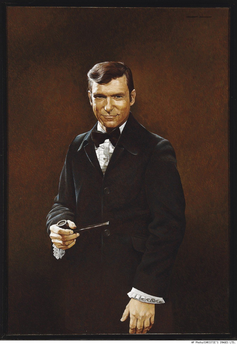 1970 oil painting by Herb Davidson of Hugh Hefner
