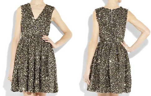 Adam Folded Sequin Silk Organza Dress