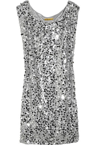 Alice + Olivia Casey Paillette Embellished Silk Dress