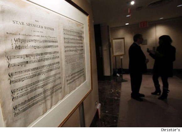 The Star Spangled Banner is on display at Christie's in New York. It will be sold by the auction house on December 3.