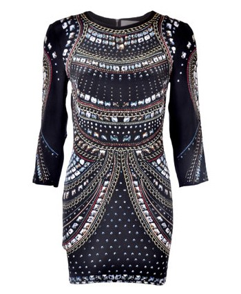 Emma Cook Jeweled Print Silk Dress