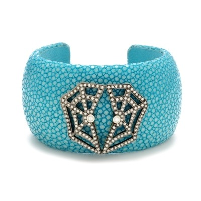 Turquose Stingray Cuff, with Magnifique Diamond-Studded Spider Web
