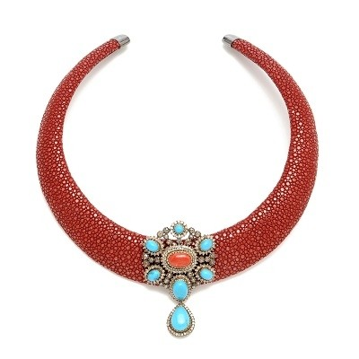 Stingray Necklace with Diamonds, Turquiose, and Coral