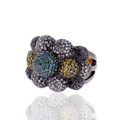 Bubbling Colors Ring with Diamonds and Sapphires