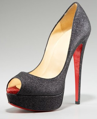Christian Louboutin Lady Peep Glitter Pump