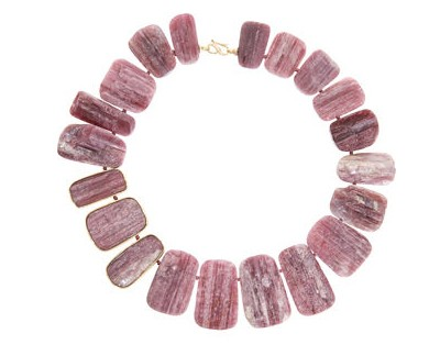 Monique Pean Pink Tourmaline Bib Necklace