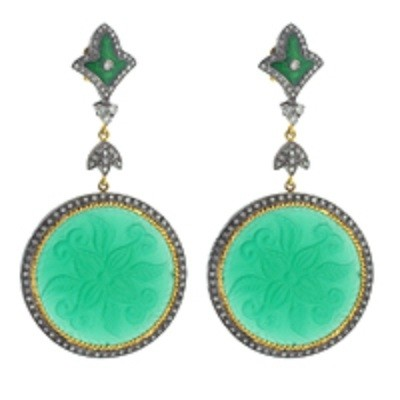 Green Agate Earrings with Diamond and Enamel