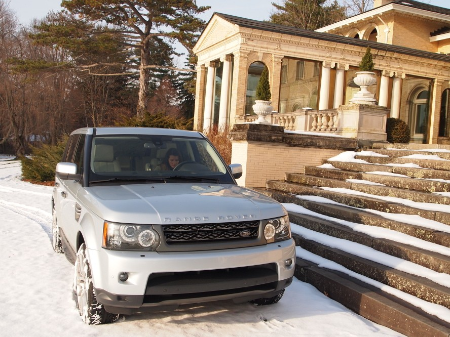 Range Rover Sport by the dining pavilion.