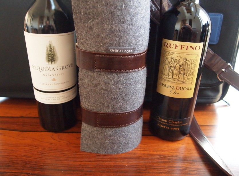 Tumi Alpha case; Graf & Lantz wine carrier with Sequoia Grove Napa Cabernet and Ruffino Riserva Ducale Oro chianti.