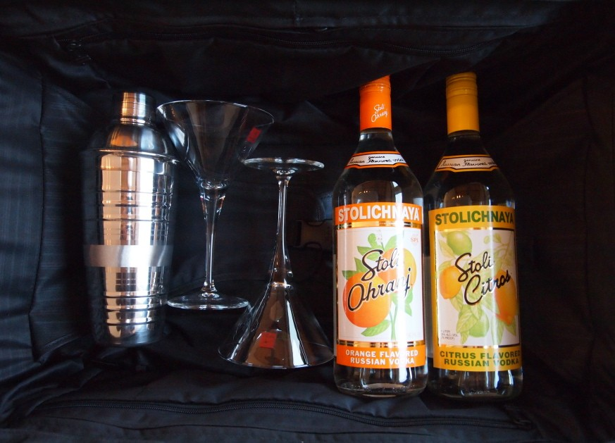 Tumi Alpha case; Stoli Ohranj and Stoli Citros; shaker and martini glasses from King's Crate.