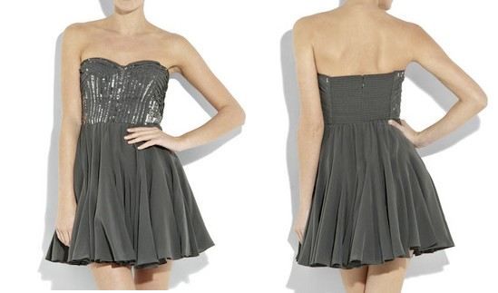 Rebecca Taylor Strapless Silk Bustier Dress
