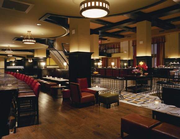 A view of the interior of Del Posto from the lounge.