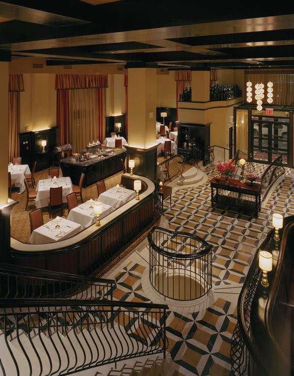 A view of the interior of Del Posto from the lounge
