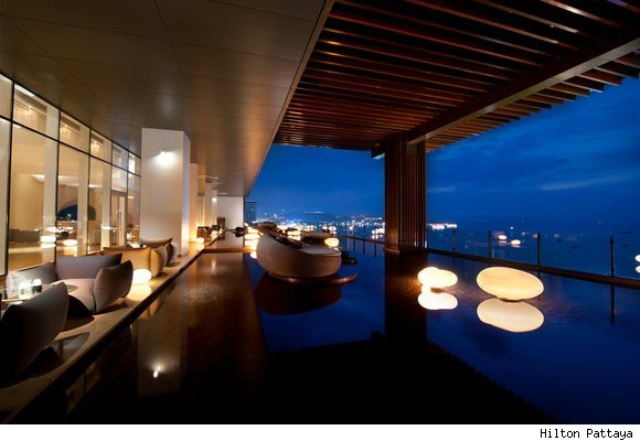 The Hilton Pattaya in Thailand is a floating hotel.