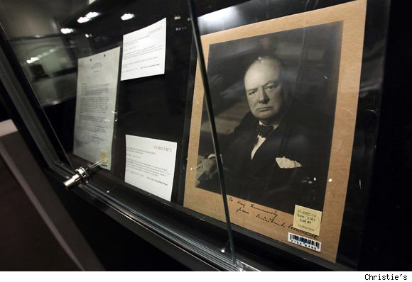 Signed and Inscribed Photograph of Winston Churchill. Estimate: $7,000 to $10,000.
