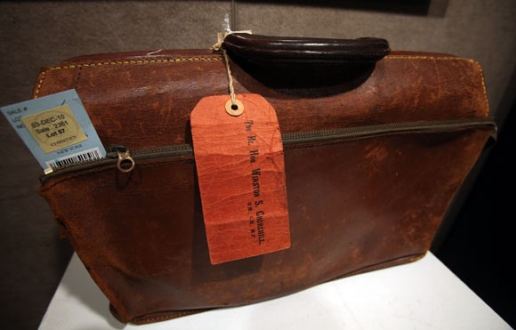 An Expandable Leather Briefcase Owned by Winston Churchill in the 1940's. Estimate $3,000 to $5,000.