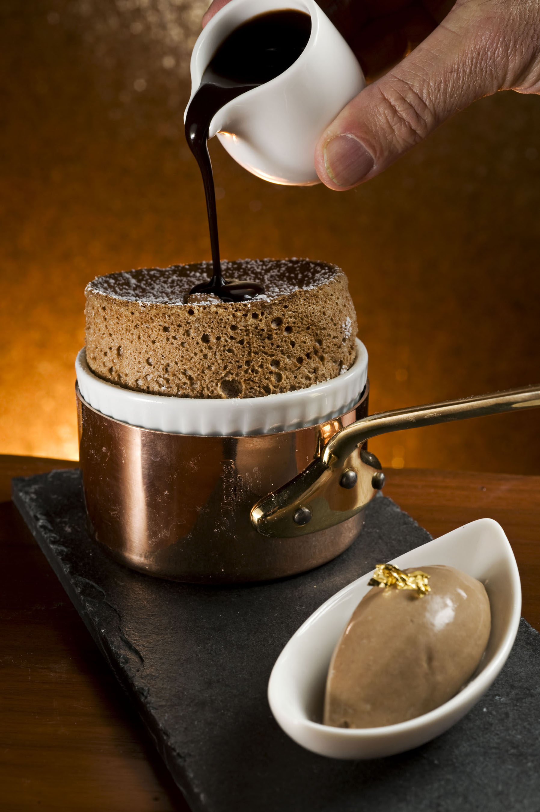 Chocolate Souffle with Chocolate Ganache and Housemade Ice Cream