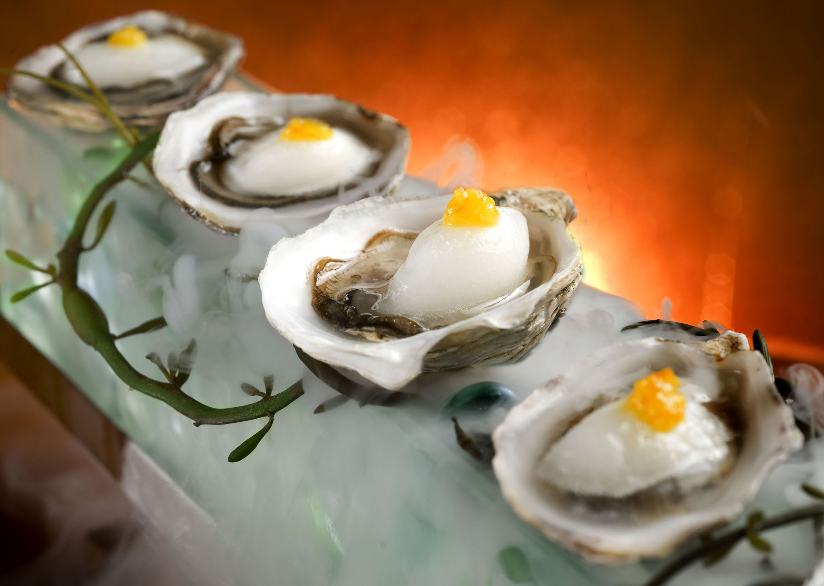 Kushi Oysters with margarita sorbet and orange pur�e