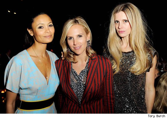 Thandie Newton, Tory Burch and Laura Bailey at the new Tory Burch store in London.