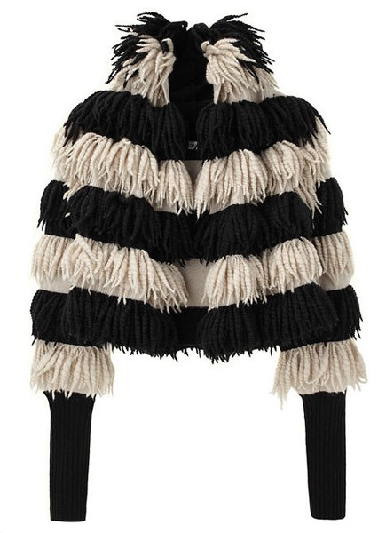 Tsumori Chisato Slub Cashmere Fringe Coat