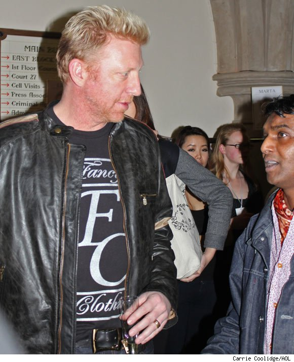 Boris Becker backstage after the Vivienne West Red Label Collection show