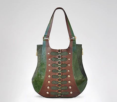 Large Corset Tote in Hunter Green